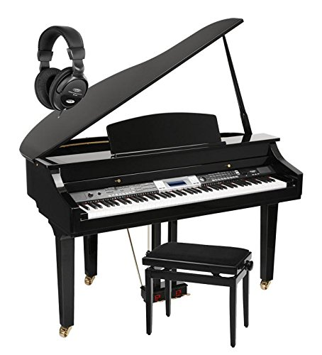 Classic Cantabile GP-500 piano de cola digital negro de alto brillo - Set. incl. Banco + auriculares