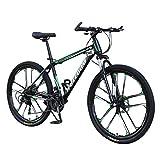 Kobay Vélo Montagne Adulte, Roues de 26 Pouces, vélo à 21 Vitesses, VTT, Freins à Double Disque, vélo de Piste de Montagne, vélos Tout-Terrain pliants en Acier à Haute teneur en Carbone (Vert)