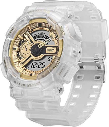 Reloj deportivo para mujer, luminoso, impermeable, con sistema de 12/24 horas, correa de silicona, para niños y niñas (blanco), color dorado transparente
