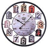 BANNAB 50 cm / 19,7 Pulgadas Reloj de Pared silencioso XXL Reloj de Pared Vintage con números Reloj de Pared de Metal de Estilo Vintage Redondo Grande