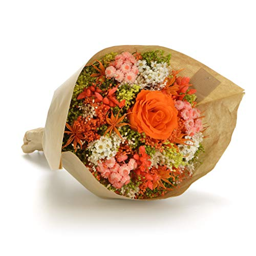 Bouquet Garden-Sanremo flores secas de la Riviera dei Fiori Italia con rosa preservado. (Naranja)