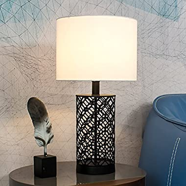 Wtape Black Hollow Out Base Modern Style Bedroom Table Lamp, Living Room Desk Lamp with White Fabric Shade