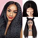 BLISSHAIR Wigs Cap - Brazilian Long Hair Yaki kinky straight - Capelli Umano Lace Frontal Wig Female Natural 14'