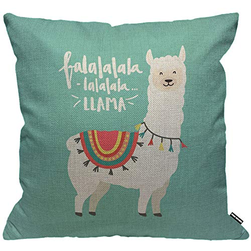 HGOD DESIGNS Cushion Cover FA La La Cute Llama Design with Falala Llama Throw Pillow Cover Home Decorative for Men/Women/Boys/Girls Living Room Bedroom Sofa Chair 18X18 Inch Pillowcase