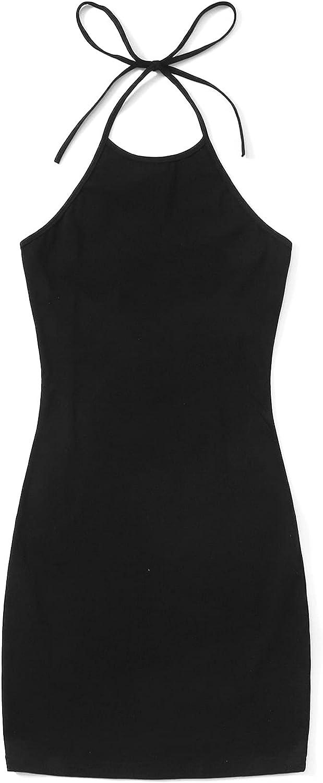 Verdusa Women's Floral Print Tie Knot Backless Sleeveless Bodycon Halter Dress
