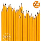 Emraw Pre Sharpened No 2 HB Wood Cased Premium Pencils with Eraser Top, Bulk Pack of 24 Pencil - For...