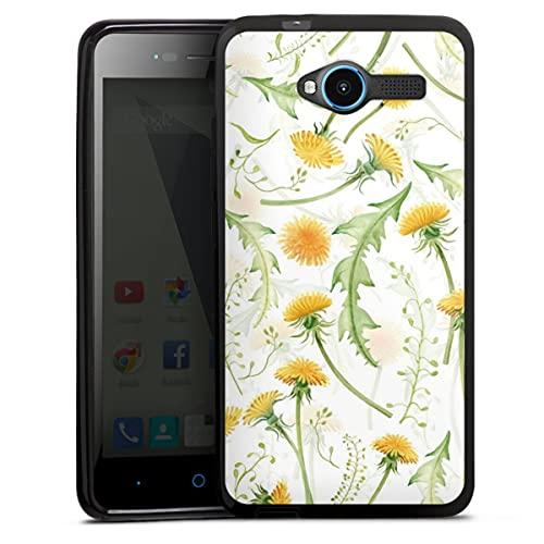 DeinDesign Silikon Hülle kompatibel mit ZTE Blade L3 Hülle schwarz Handyhülle Blumen Blüte Muster