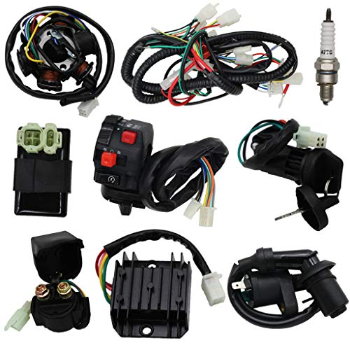 OTOHANS AUTOMOTIVE Complete Wiring Harness kit Electrics Wire Loom Assembly with Full Copper Wire For GY6 4-Stroke Four wheelers Engine Type 125cc 150cc Pit Bike Scooter ATV