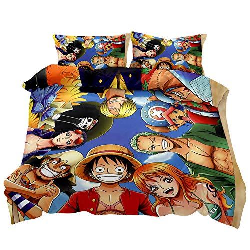 KIACIYA Funda Nórdica One Piece, One Piece Juego de Funda de Edredón Luffy 3D Impresión 3 Piezas Funda Nórdica Chicas y Chicos Juegos de Fundas para Edredón y Funda de Almohada (03,140x210cm)