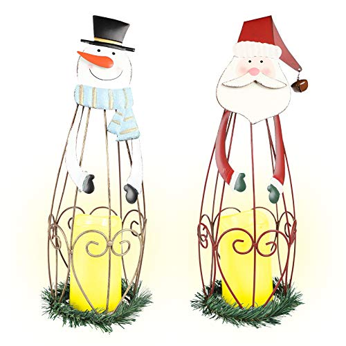 MorTime 2 Pack Christmas Candle Lantern with LED Lights, Metal Lighted Santa Claus Lanterns for Christmas Holiday Home Decorations