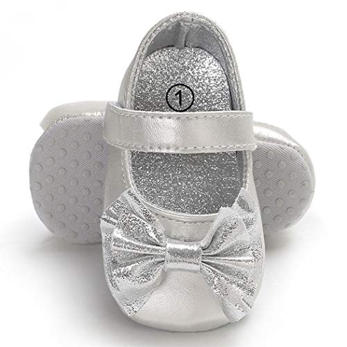 Delebao Infant Toddler Baby Soft Sole Tassel Bowknot Moccasinss Crib Shoes (3-6 Months, Silver)
