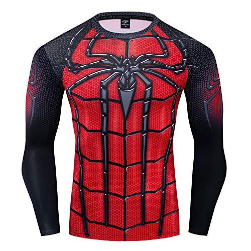 COJETER Mesh Schwarz Spider Langarm T-Shirts for Men Pullover Komfortable elastische Kompressionsstrumpfhose Fitness Rot T-Shirts
