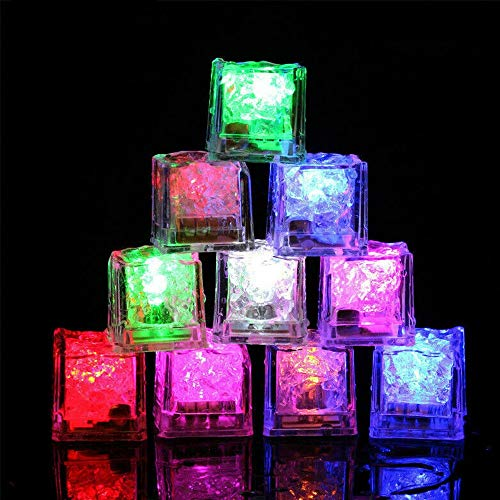 Keyohome 12 Pezzi Cubetti di Ghiaccio a LED Riutilizzabili Multicolore Adatto per Bar Balli Ricevimenti Feste Matrimonio