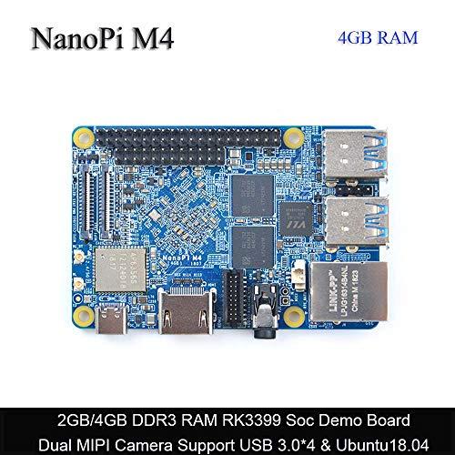 NanoPi M4 4 GB LPDDR3 Rockchip RK3399 SoC 2.4 G y 5G WiFi de doble banda, compatible con Android y Ubuntu, AI y aprendizaje profundo, se envía con disipador de calor