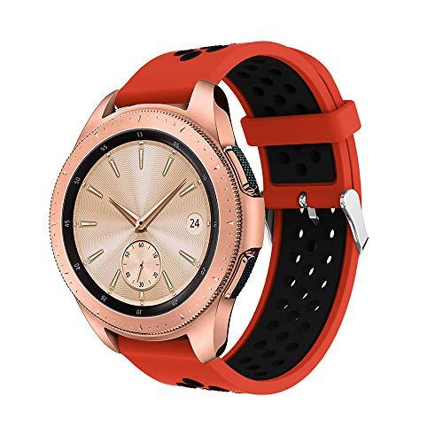 Luckhome Uhrenarmband Serie Lederarmband Ersatband Mit Edelstahl Metall Schließe Classic Armband Ersatz Band ,Doppelte Farbe Sport Silikon Armband Strap Band für Samsung Galaxy Watch 42mm(G)