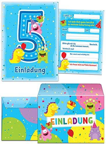 12 Einladungskarten + 12 Umschläge zum 5. Kindergeburtstag blau / schöne Einladungen zum Geburtstag für Mädchen und Jungen lustige Monster (12 Karten + 12 Umschläge)