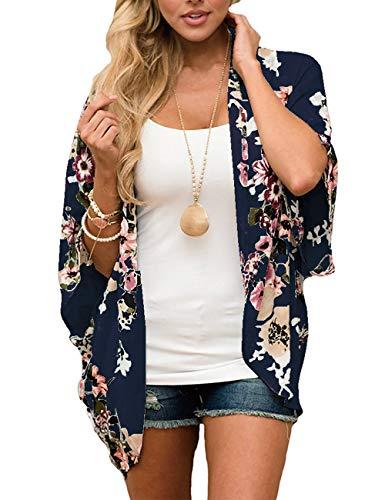 JORYEE Damen Florale Kimono Cardigan - Tops Cardigan Chiffon Shawl Bluse Sommer Boho Strand Cover up Leichte Jacke Oberteil (Dunkelblau, L)