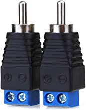 JEEUE RCA Male Plug Connectors Solderless Adapter, RCA Plug for AV Screw Terminal Audio/Video Speaker CCTV Applications RCA Cable - 2PCS Blue