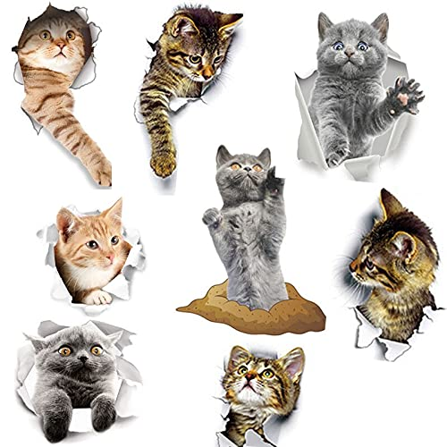 Pegatinas de pared de perro gato con agujero vivo 3d, baño, baño, decoración de habitación para niños, calcomanía de pared, pegatina para nevera, póster impermeable