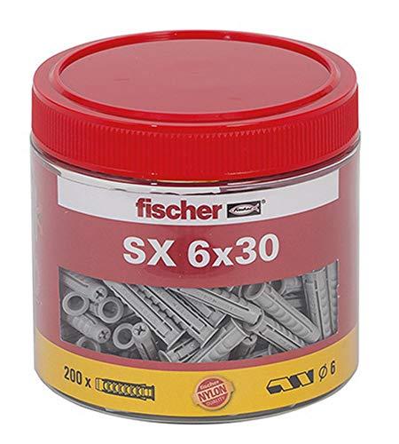 fischer Spreizdübel SX 6 x 30, handliche Runddose mit 200 Nylondübeln, Dübel für optimalen Halt bei Befestigungen in Beton, Hochlochziegel, Porenbeton, Vollziegel uvm.