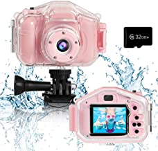 Agoigo Kids Waterproof Camera Toys for 3-12 Year Old Boys Girls Christmas Birthday Gifts Children's HD Video Digital Action Cameras Child Indoor Outdoor Toddler Camera, 2 Inch Screen (Pink)