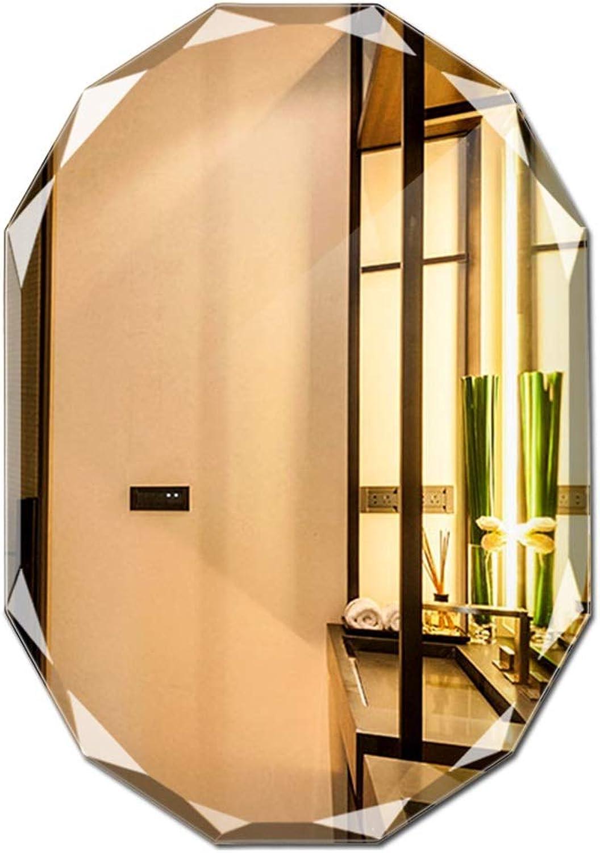 Wall Mirror Frameless Bathroom Mirror Diamond Side Design Bathroom Mirror Bathroom Mirror Bathroom Mirror (color   Silver, Size   45  60cm)