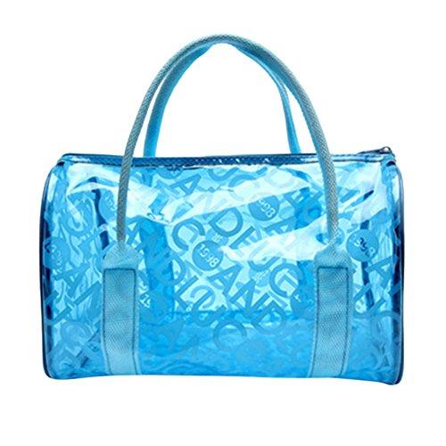 CHIC-CHIC-PVC Transparent Sac Fourre-tout Cosmétique Trousse de Toilette Sacs à Main Organisateur (bleu)