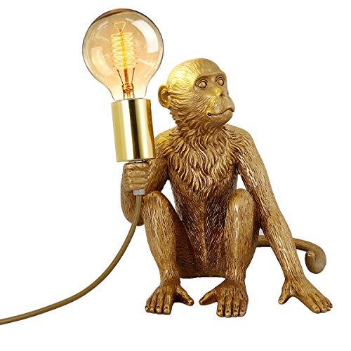 Lámpara de mesa moderna, lámpara de escritorio de mono, lámpara de mesa creativa, lámpara de mesa de resina, accesorio de iluminación para sala de estar, dormitorio, oficina