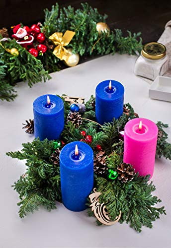 "Blue Pillar Candles Set of 3 3"" x 6"" Navy Unscented Dripless for Weddings Home Decoration Relaxation Spa Church"