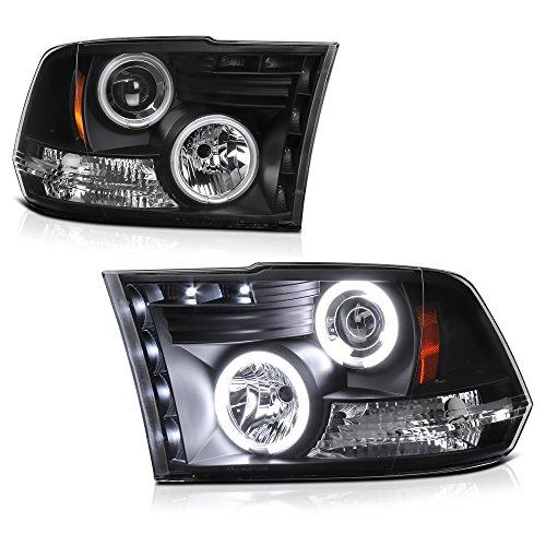 VIPMOTOZ CCFL Halo Ring Black Projector Headlight Lamp Assembly For 2009-2018 Dodge RAM 1500 2500 3500 Pickup Truck, Driver & Passenger Side