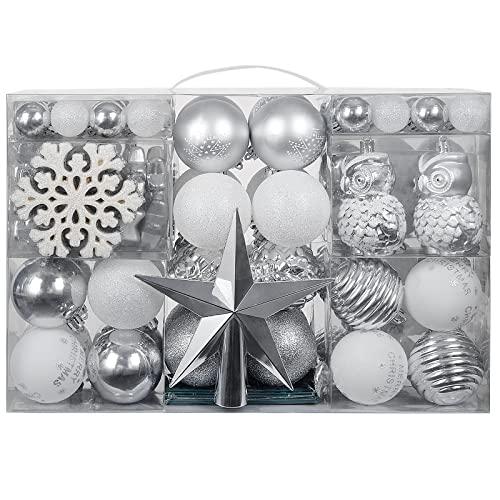 YILEEY Decorazioni Albero di Natale Palline di Plastica Argento e bianco 136 pezzi in 22 tipi, Scatola di Palline di Natale Infrangibili con Gancio, Ornamenti Decorativi Ciondoli Regali