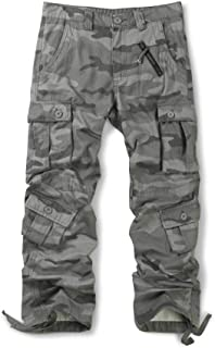 OCHENTA Men's Cotton Military Cargo Pants, 8 Pockets Casual Work Combat Trousers