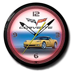 Corvette C6 Yellow Genuine Vette Emblem Neon Wall Clock 20 Made In USA, 110V Electric, Aluminum Spun Case, Powder Coated Finish, Glass Face, Brass Movement, Pull Chain, 1 Year Warranty
