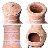 Nexos Terrassenofen Gartenkamin Terracotta 85 cm Gartenofen Stahlgestell Feueröffnung20x15 cm Schlotöffnung 26x15 cm robust 19,5 kg Grillkamin - 5