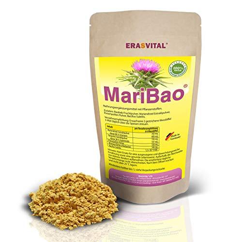 MariBao® I 500 g Pulver I mit Mariendistel Extrakt 80% Silymarin, Baobab Fruchtpulver, Pinienpollen Pulver, Bacillus Subtilis Eine Kombination aus Natursubstanzen für eine vitale Leber