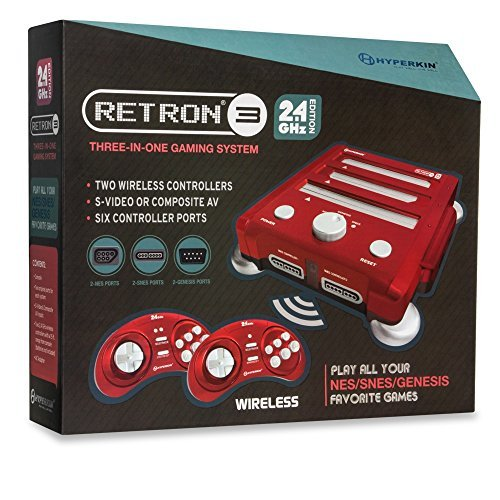 Hyperkin RetroN 3 Gaming Console 2.4 GHz Edition for Super NES/ Genesis/ NES (Laser Red)