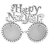 KESYOO 2021年メガネ新年あけましておめでとうございますサングラスおかしいプラスチック製の眼鏡イブパーティーフォトサプライ(シルバー)
