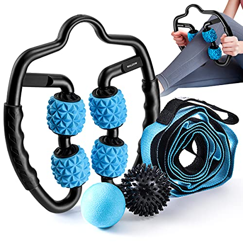 MALOOW 4-in-1 Muscle Roller, Trigger Point Massage Roller for Deep Tissue, Help Reducing Leg, Tennis Elbow, Thigh, Arm Soreness and Pain Relief Includes Stretch Strap & Massage Ball
