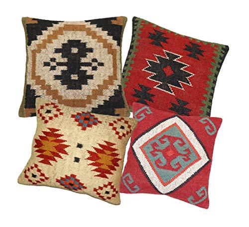 Handicraft Bazarr Juego de 4 fundas de cojín tejidas Kilim almohada cuadrada lana yute vintage 45 x 45 cm funda de cojín rústico Kilim sofá decoración almohadas