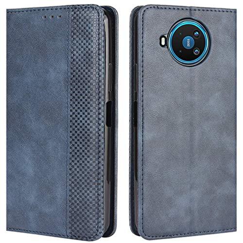 HualuBro Handyhülle für Nokia 8.3 Hülle, Retro Leder Stoßfest Klapphülle Schutzhülle Handytasche LederHülle Flip Hülle Cover für Nokia 8.3 5G Tasche, Blau
