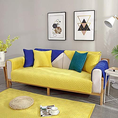 YUTJK Funda Universal para Sofá Antideslizante,Funda para Toalla de Sofá,Protector para Muebles,Acolchado de Felpa,Estera de sofá de Terciopelo de Cristal Engrosada,para sofás de Cuero,Amarillo_110×