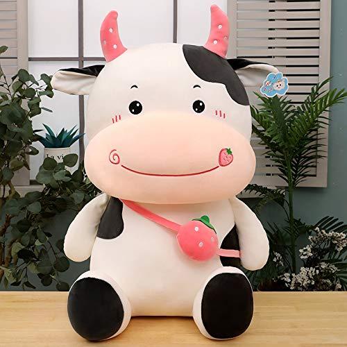 Lindo Lindo Juguete de Peluche de Vaca Bolsa de Frutas muñeca de Vaca muñeca Almohada para Dormir Regalo 33 cm Rosa