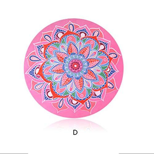 GJQION ronde yogamat, meditatie pad, suède en natuurlijke rubber antislip tapijt, set kussen, D