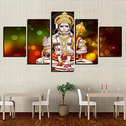 Quadro 150 x 80 cm 5 Pezzi Stampa su Tela in XXL Lord Hanuman Jayanti Hindu Fest Decorazione Camera...