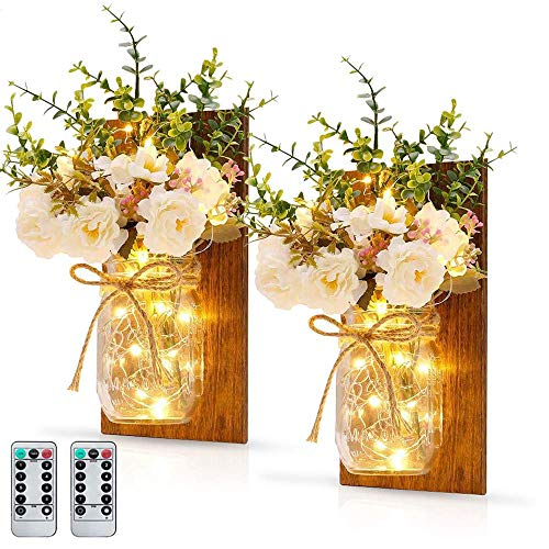 MMTX 2PCS Hanging Lantern Mason Jar Lights, Christmas Decoration Birthday Gift Rustic Home Mason Jar Sconces With Artificial Flower LED Strip Lights with Battery Operated for Home Garden Wall Decor