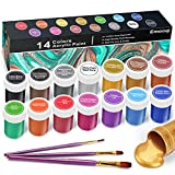 Metallic Acrylic Paint Set– Emooqi Professional Grade Acrylic Paints (14x20ml) with 3 Free Paint Brushes,Non Fading, Highly Pigmented & Fade-Resistant,Ideal for Kids & Adults,Artist & Beginners