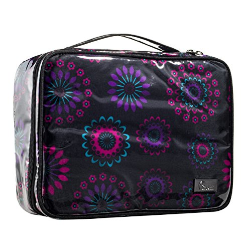 Premium Travel Makeup Bag with Makeup Brush Holder (Purple_Circle)