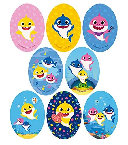 8 Parches termoadhesivos para la ropa. Apliques serigrafiados para planchar sobre camisetas, bata escolar, jeans, chaquetas. Diseño personajes Disney: Baby Shark - REF.6892-U8