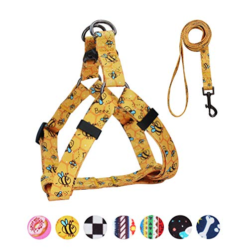 QQPETS Dog Harness Leash Set, Adjustable Heavy Duty No Pull Halter Harnesses for Large, Medium, Small Breed Dogs, Back Clip, Anti-Twist, Perfect for Walking (S(14'-20' Chest Girth), Yellow Bee)