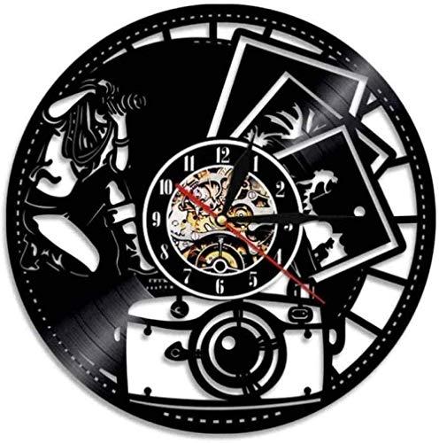 Fotógrafo de diseño Retro Reloj de Vinilo Reloj de Pared de Registro Hecho a Mano Creativo Colgante Decoración del hogar-No_Led